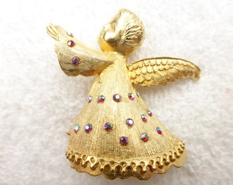 Dodds Angel dimensional brooch in brushed gold tone & aurora borealis AG36