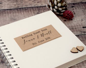 Classic Rustic Wedding Guest Book with Wooden Hearts, Personalised, Handmade, Scrapbook or Photobooth Guestbook