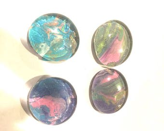 Fluid Acrylic Pour Glass Dome Marble Magnets You Pick Color x4