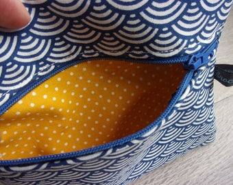 """Papers range Collection """"China"""" / / shades Navy Blue and yellow / Japanese fabric and polka dots"""