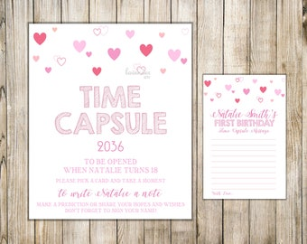 VALENTINE 1st Birthday TIME CAPSULE, First Birthday Time Capsule, Sign & Card, Valentines Time Capsule, Baby Shower, Birthday Wishes
