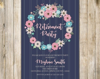 FLORAL RETIREMENT Invitation, Retirement Celebration Invite, Surprise Retirement, Woman Retirement Party, Farewell Party, Floral Wreath LA28