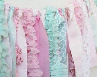 Dainty Pink and Mint Fabric Garland. Pink decor, baby nursery, baby shower, shabby chic decor, girls room decor, pink and mint decor