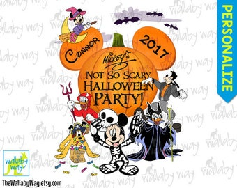 Mickey's Not So Scary Halloween Party Disney Printable Iron On Transfer or Use as Clip Art - DIY Personalized Matching Shirts, Download 2016