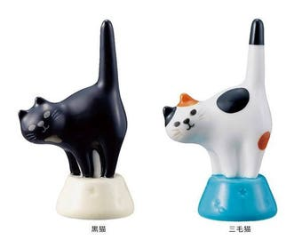 Kawaii Ceramic Cat Ring Holder: Black Bombay Cat and Calico Cat