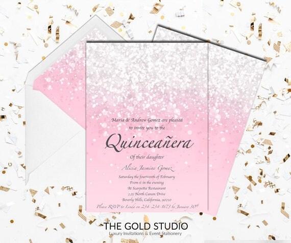 blush pink quincea u00f1era invitation mis quince anos glitter