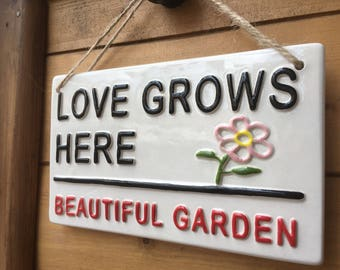 LOVE GROWS HERE-Beautiful Garden-London Street Sign-Garden Sign-Courtyard-Garden Decor-Sign-Plaque-Flower Sign-Accessories-Love-Gardening