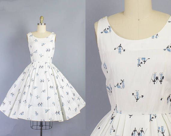 1950s African Novelty Print Dress/ Small (36b/26w)