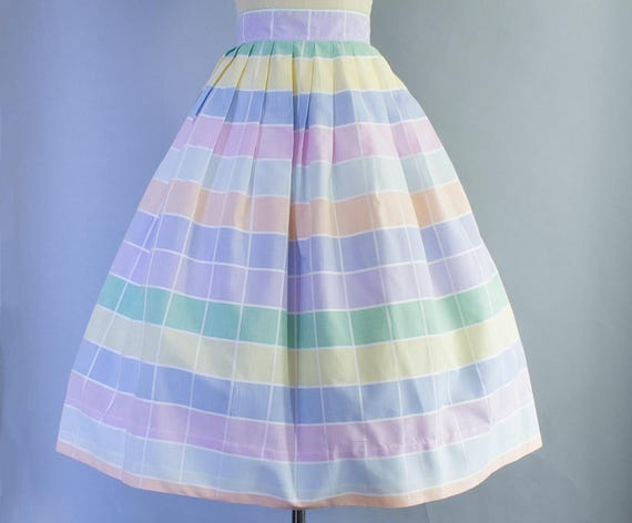 1950s Rainbow Pastel Gingham Skirt | Medium (28 waist)