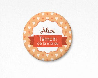 """Autumn hearts"" wedding badge 38 mm placeholder"