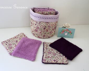 12 wipes, cotton, purple, sponge, round basket, to order