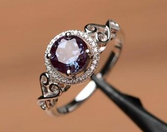 alexandrite ring engagement ring round cut ring silver ring June birthstone gemstone ring