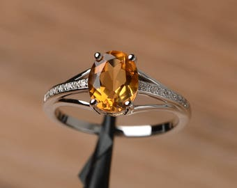 real natural citrine crystal ring engagement ring oval cut solid sterling silver ring yellow gemstone November birthstone ring