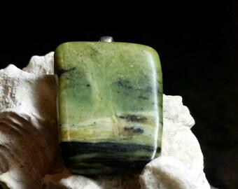 Incredible Nephrite Jade & Pewter Pendant