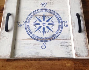 Distressed Wood Compass Tray