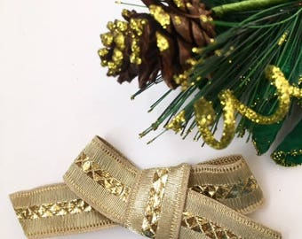 Holiday bow/christmas bows/tiddler bows/toddler headband/newborn bows/newborn headbands/gold headband