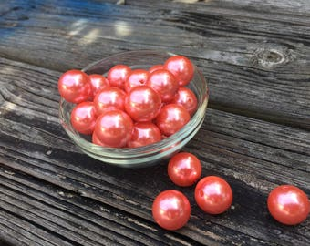 ShipFree25-  10ct Coral Pearl 20mm beads, Coral beads, Bead Supply, Coral Acrylic beads, Coral Bubblegum Beads