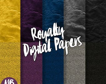 ROYALTY Digital Paper, Printable pdf, Royal Glitter Paper, Royal Foil Paper, Gold, Purple, Black, Blue, Silver, INSTANT DOWNLOAD