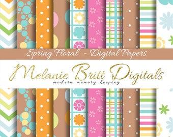 SPRING FLORAL paper, digital paper pack, Easter floral papers, floral backgrounds, flower pattern paper, scrapbook flowers, printable paper