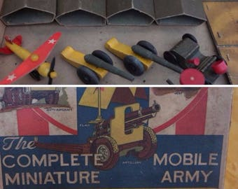 1940s Midgies Complete Mobile Army Set with Original box- Wooden Toys - US Army Air Force Marines- Military Toy Set