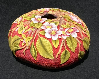 Apple Blossom Hand Carved Decorative Gourd