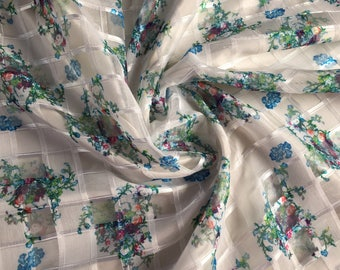 "Organza with Burnout textured pattern and Floral Print, Price is per Yard, 54"" Wide"