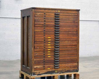 Hamiltion Printers Type Case Cabinet 24 Drawer  #12