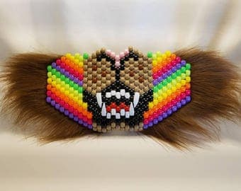 Neon Rainbow Striped Lion Kandi Mask with Teeth