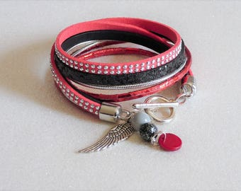 Bracelet double strand black leather sequins, red suede rhinestone, wing and beads