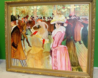Can Can Dancers at Moulin Rouge Oil Painting Toulouse Lautrec French Gr8 For Hotel Lobby or Restaurant