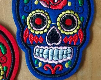 Blue skull Patch embroidery