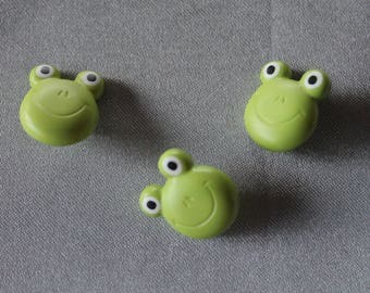 set, three buttons, animal, frog, green
