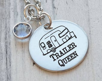 Camper Trailer Queen Personalized Necklace - Engraved