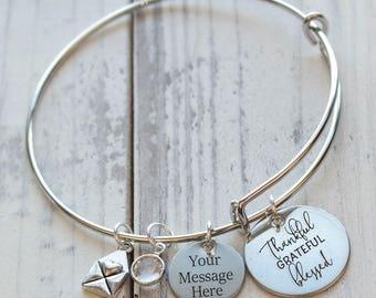 Thankful Grateful Blessed Wire Adjustable Bangle Bracelet