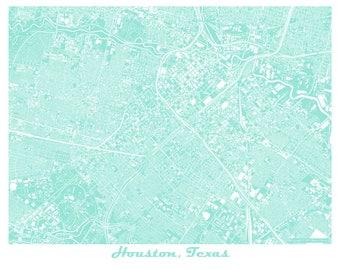 Houston Map Art Print, Texas, Rice University, University of Houston