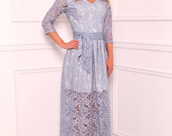 Gray Blue Lace Maxi Dress V Neck 3/4 Sleeves