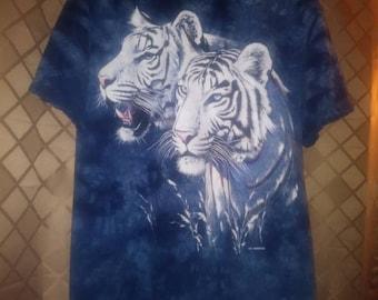 Large White Tiger blue tye dye t-shirt