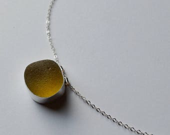 Large Sterling Silver Bezel Genuine Yellow Sea Glass Pendant