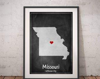 Missouri City Print, Missouri State Map, Missouri Wall Art, Missouri Chalkboard Print, USA Map Print