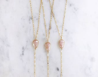 Peruvian Pink Opal Lariat Necklace | Y Necklace | 14k gold fill |