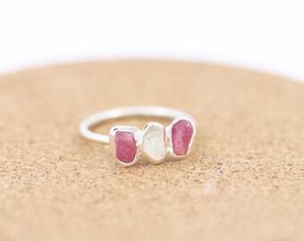 Sterling Silver Pink Tourmaline and Herkimer Diamond Ring| Raw Gemstone Ring | Boho|Bohemian Ring |Stacking Ring |Multi Stone|Dainty