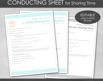 LDS 2018 Primary Conducting Sheet - I Am a Child of God Theme PRINTABLE Editable PDF Sharing Time Presidency Agenda Outline Planning P002