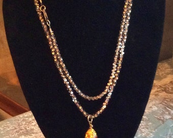 Long Gold Crystal Rope Necklace with 14K Gold Handblown Venetian Glass Pendant , Handmade by Andrea Comsky