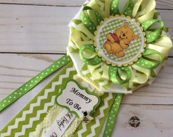 Winnie the Pooh baby shower corsage/Gender neutral Winnie the Pooh baby shower corsage/Light yellow and green Winnie the Pooh baby shower