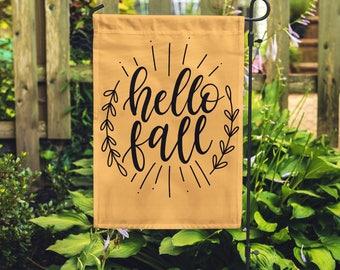 Hello Fall Garden Flag, Personalized Garden Flag, Garden Decor, Monogram Flag, Personalized Flag, Autumn Flag, Halloween Flag, Pumpkin Flag