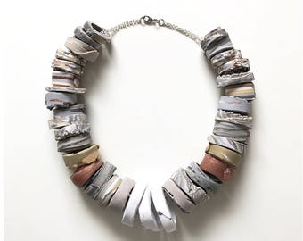 Inspired by Heidi Klum on Project Runway! Handmade polymer clay statement necklace