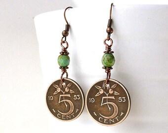 Netherlands, Coin earrings, Coin jewelry, Botanical earrings, Mint green beads, Czech beads, Dutch, Holland, Bronze earrings, Coins, 1953