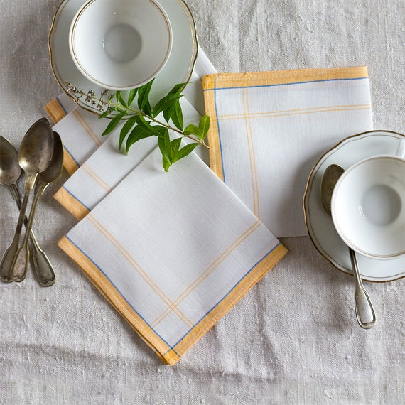 French Yellow Border Cocktail Napkins - set of 5