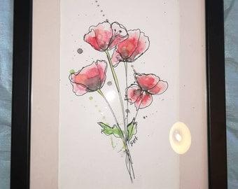Poppies Original Watercolour