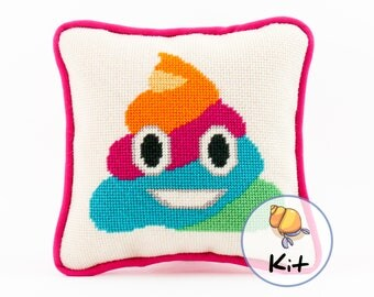 Rainbow Unicorn Poop Emoji Needlepoint Kit, Fun Small Needlepoint Kit Beginner, Modern Tapestry, Emoji décor, Glitter Poop pillow, Unicorn